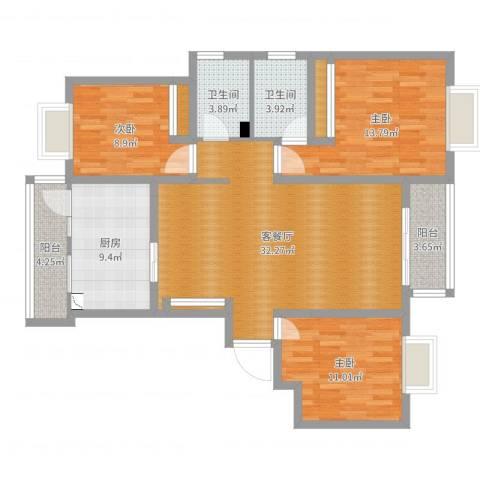 凯旋花园3室2厅2卫1厨116.00㎡户型图