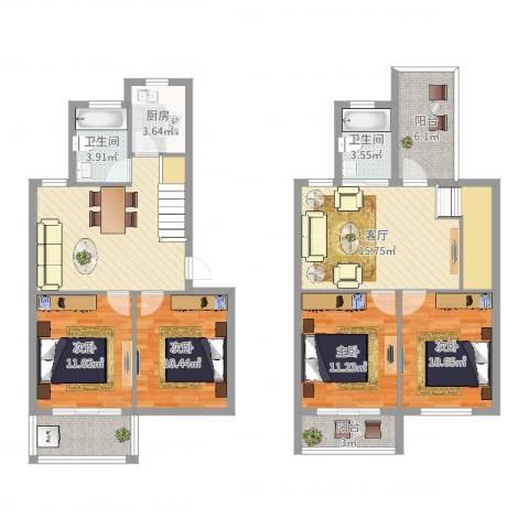姚江花园4室1厅2卫1厨130.00㎡户型图