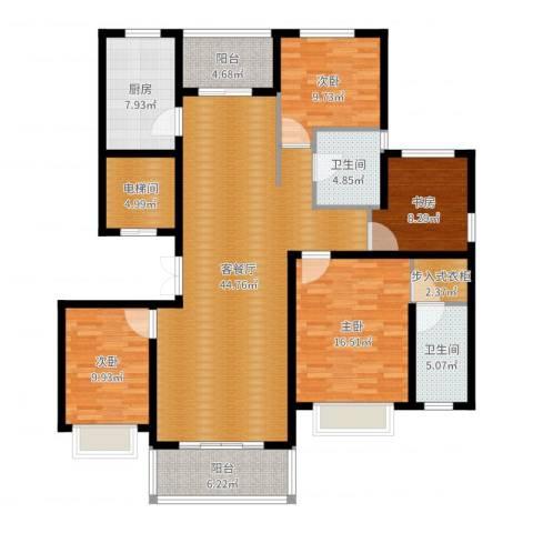 中房颐园4室2厅2卫1厨157.00㎡户型图