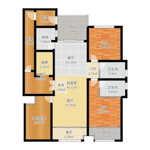 海鑫花园2室1厅2卫1厨184.00㎡户型图