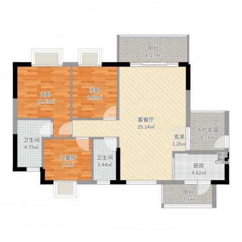 千禧嘉园3室2厅2卫1厨104.00㎡户型图