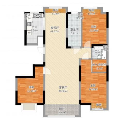 保利香槟湾3室2厅2卫1厨132.00㎡户型图