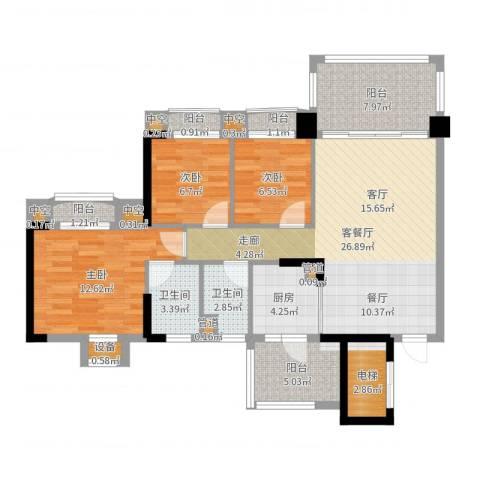 金海岸花园・聚湖3室2厅2卫1厨105.00㎡户型图