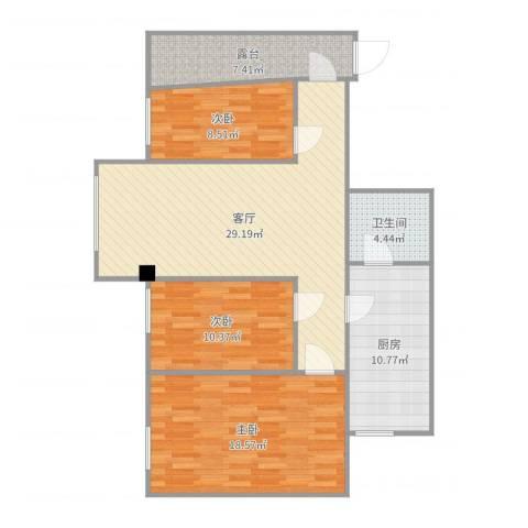 南海区西樵景福楼3室1厅1卫1厨112.00㎡户型图