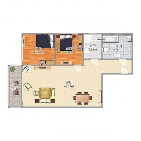 世纪豪园小区2室1厅1卫1厨104.00㎡户型图