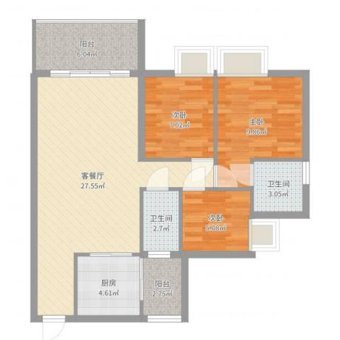 美力百富雅苑二期3室2厅2卫1厨86.00㎡户型图