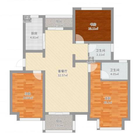 东郊小镇第三街区3室2厅2卫1厨111.00㎡户型图