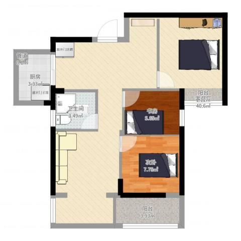 住宅莲花尚院2室2厅2卫1厨81.00㎡户型图