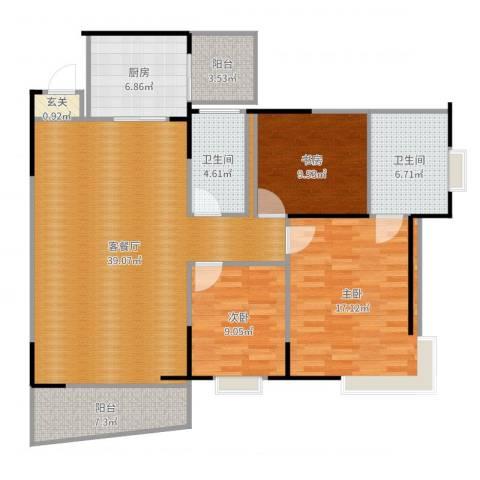 泰和佳园3室2厅2卫1厨129.00㎡户型图