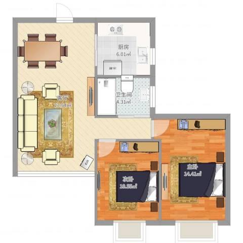 隆顺花园2室1厅1卫1厨79.00㎡户型图