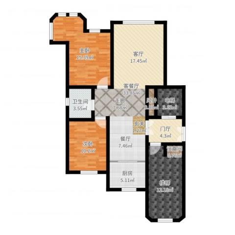 世福佳苑・碧春园2室2厅1卫1厨112.00㎡户型图