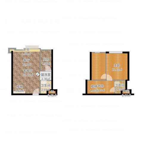 滨海浙商蓝庭国际2室2厅2卫1厨89.00㎡户型图