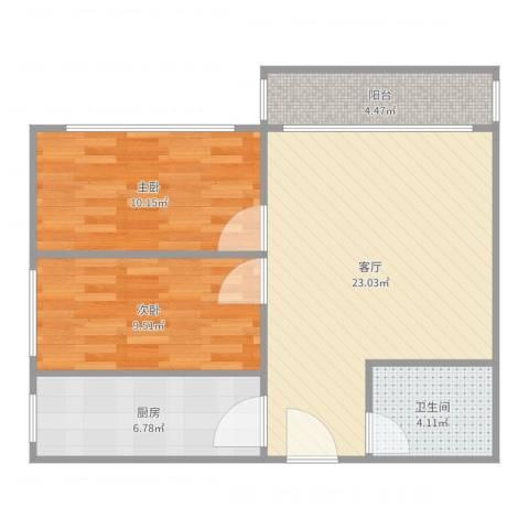 幸福东区2室1厅1卫1厨73.00㎡户型图