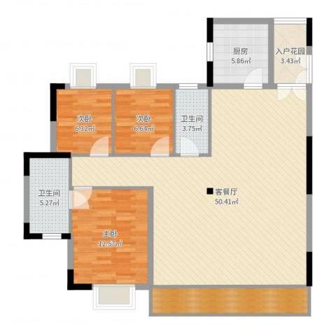 精英世家3室2厅2卫1厨127.00㎡户型图