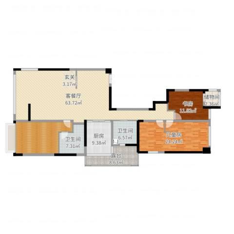 御翠园2室2厅2卫1厨190.00㎡户型图