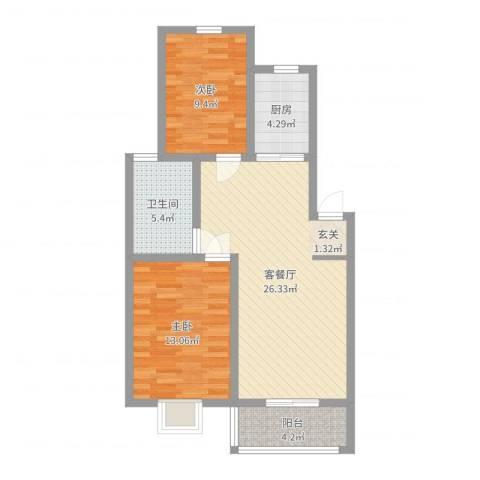 水沐楼台公寓2室2厅1卫1厨78.00㎡户型图
