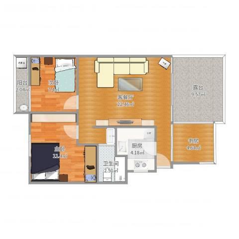 祈福新村C区3室2厅1卫1厨80.00㎡户型图