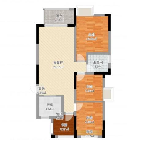 时代广场二期4室2厅1卫1厨96.00㎡户型图