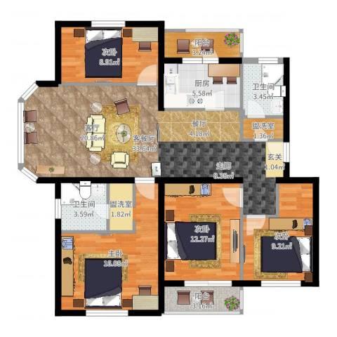 白河涧别墅4室2厅2卫1厨126.00㎡户型图