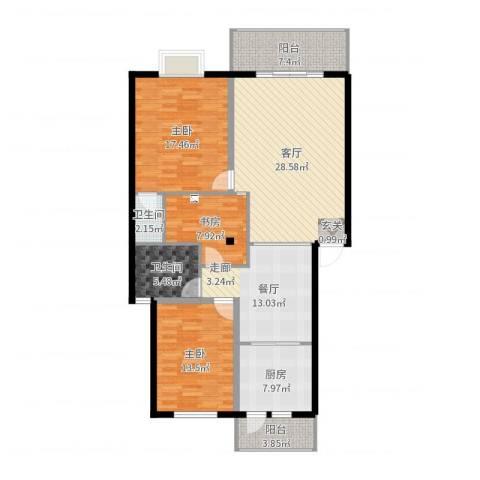 金龙花园二期2室2厅2卫1厨134.00㎡户型图