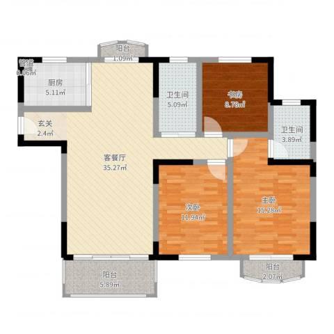 银河湾紫苑3室2厅2卫1厨118.00㎡户型图