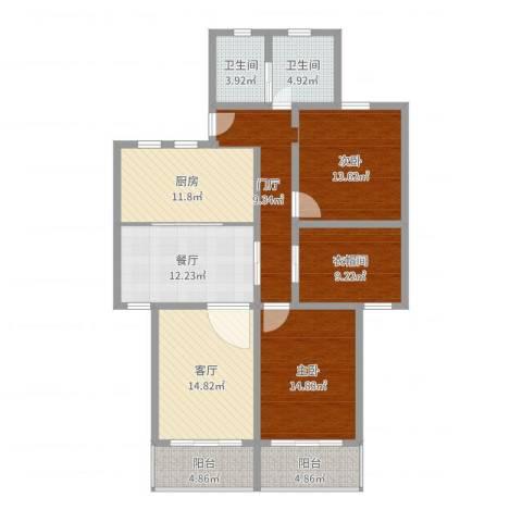 艾山新村2室2厅2卫1厨131.00㎡户型图