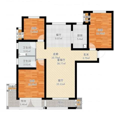 力高阳光海岸3室2厅2卫1厨119.00㎡户型图