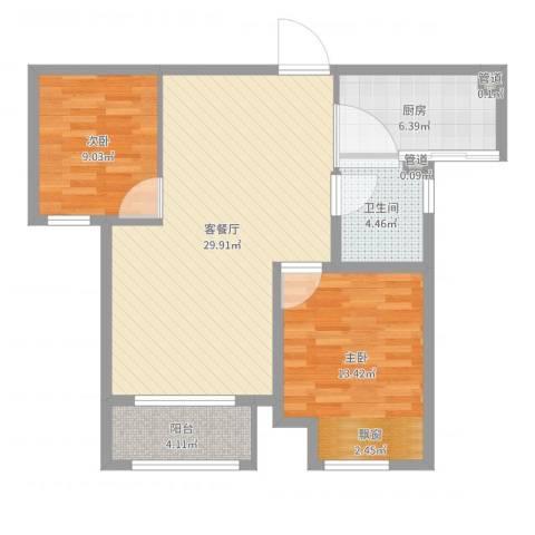 永定河孔雀城2室2厅1卫1厨84.00㎡户型图