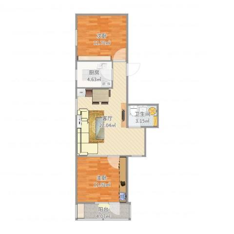 双紫小区2室1厅1卫1厨72.00㎡户型图