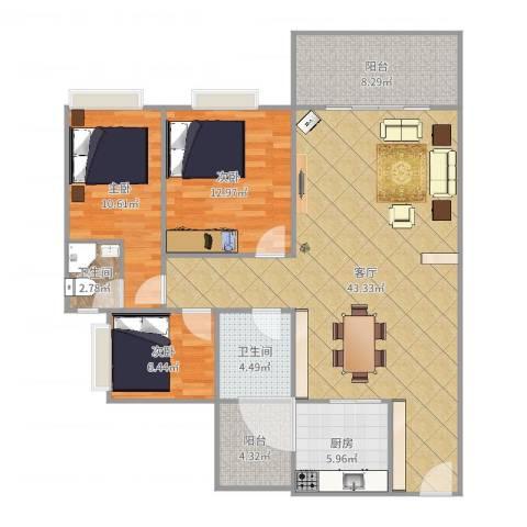 宝翠花园3室1厅1卫1厨123.00㎡户型图