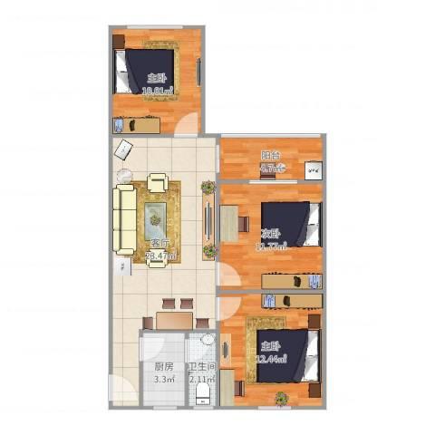 新兴白云花园3室1厅1卫1厨85.00㎡户型图