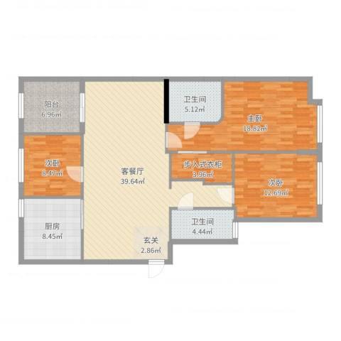 世纪嘉园3室2厅2卫1厨136.00㎡户型图