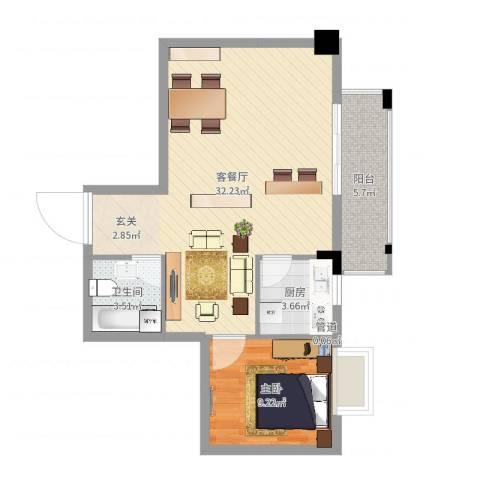 兴业城1室2厅1卫1厨68.00㎡户型图