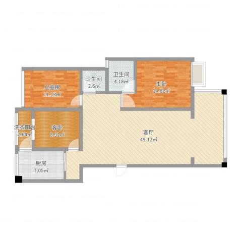香槟庄园3室1厅2卫1厨126.00㎡户型图