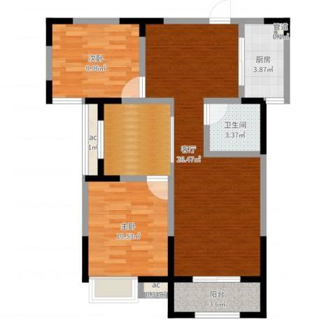 绿都温莎城堡2室1厅1卫1厨81.00㎡户型图