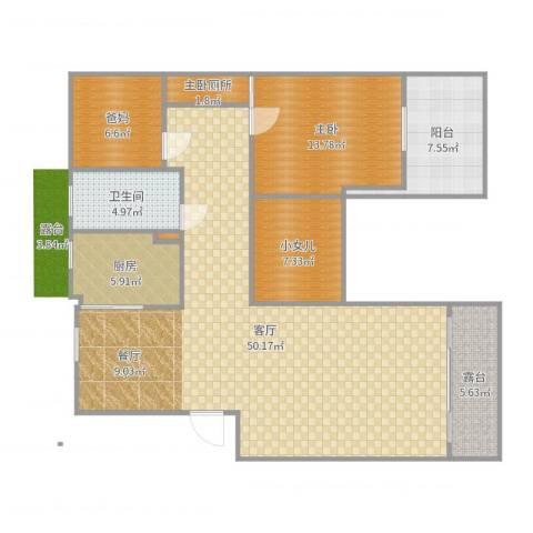 翰林世家1室1厅1卫1厨130.00㎡户型图