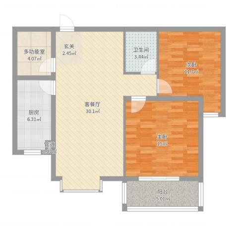 迎西城・建安佳园2室2厅1卫1厨95.00㎡户型图
