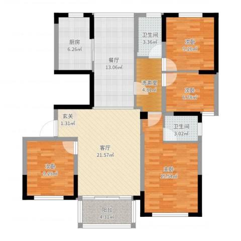 华建雅园4室2厅2卫1厨122.00㎡户型图