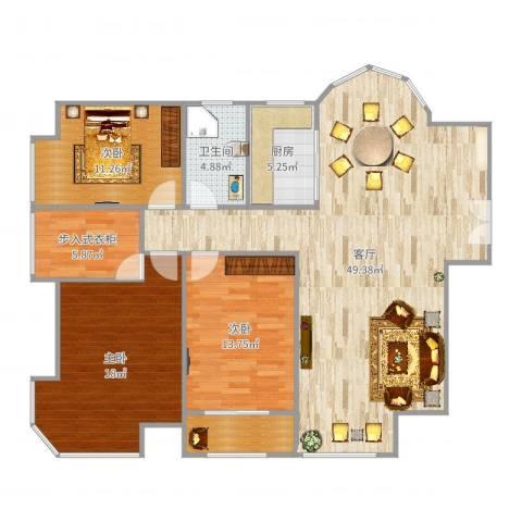 世纪中央城3室1厅1卫1厨140.00㎡户型图