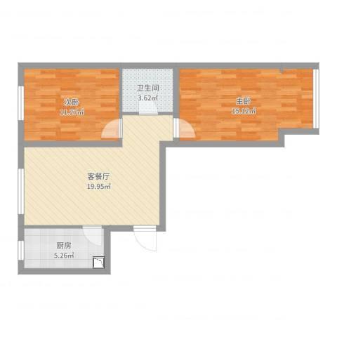 金隅汇景苑2室2厅1卫1厨69.00㎡户型图