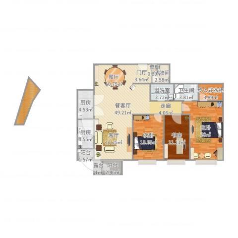 富力城C区23室2厅1卫2厨158.00㎡户型图