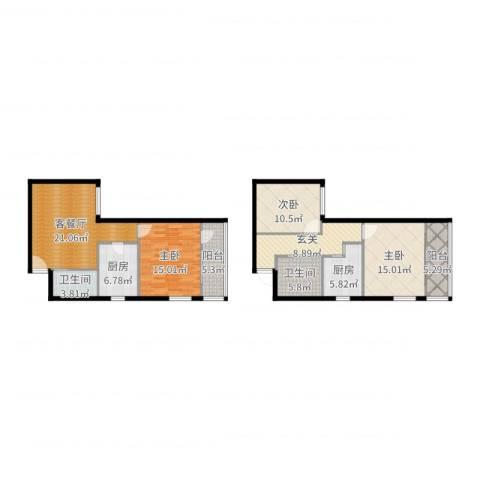 牛街西里57.67平3室2厅2卫2厨129.00㎡户型图