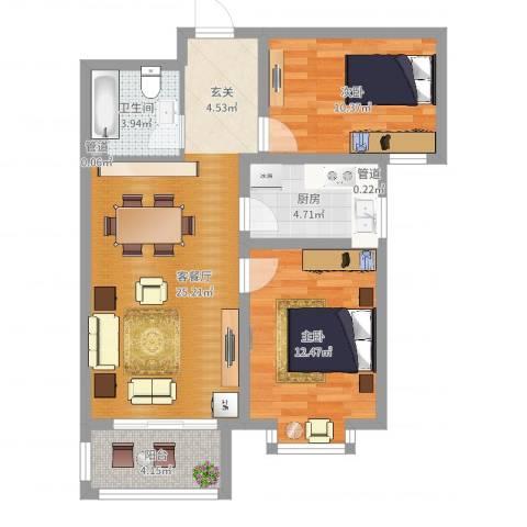 米苏阳光2室2厅1卫1厨76.00㎡户型图