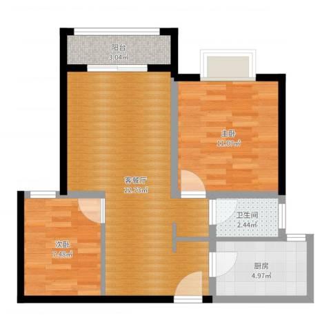 仁和都市花园2室2厅1卫1厨65.00㎡户型图
