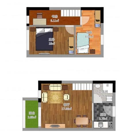 历昌华庭3室1厅1卫1厨64.00㎡户型图