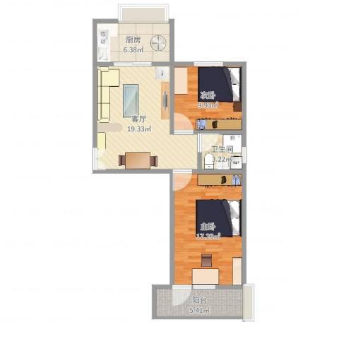 华兴小区2室1厅1卫1厨77.00㎡户型图