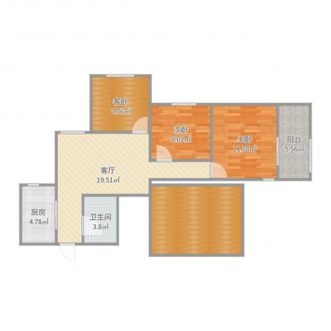 龙康新苑3室1厅1卫1厨96.00㎡户型图