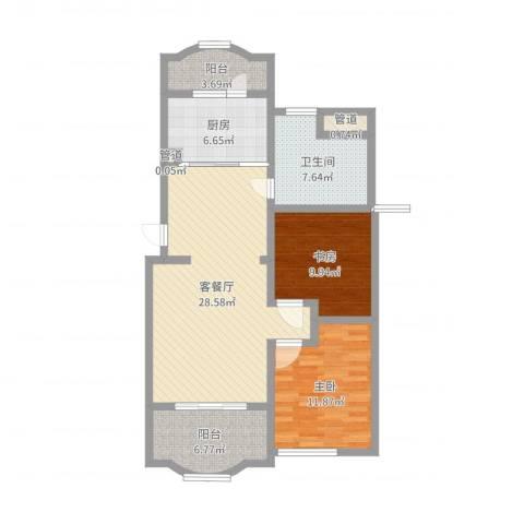 虹康花苑二期2室2厅1卫1厨95.00㎡户型图