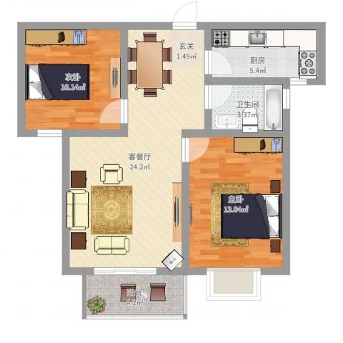 米苏阳光2室2厅1卫1厨75.00㎡户型图