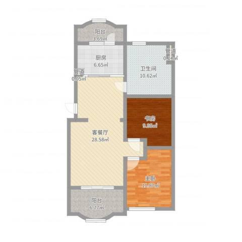 虹康花苑二期2室2厅1卫1厨98.00㎡户型图